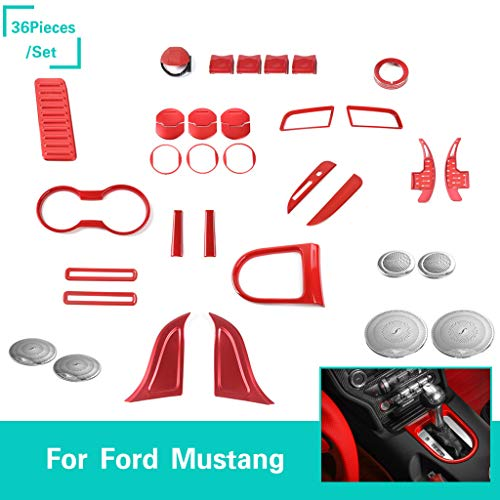 Voodonala Red Interior Accessories Decorative Trim Kits for Ford Mustang 2015 2016 2017 2018 (36 PCS)
