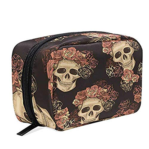 Sugar Skull Rose Flower Cosmetic Bag Travel Makeup Pencil Cases, Floral Day Of Dead PortablePouch Toiletry Bag Organizer Large Capacity Storage Bag Gift forWomen Girls Female Outdoor ()