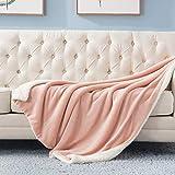 BEDSURE Sherpa Fleece Blanket Throw Size Dusty Pink