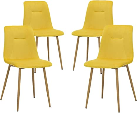 Teraves 4 Pcs Velvet Dining Chairs Soft Seat Kitchen Chair With Sturdy Metal Legs For Living Room Office Lounge Yellow Amazon De Kuche Haushalt