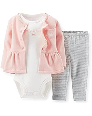 Baby Girls' 3-Piece Peplum Cardigan Set - Pink - Pretty & Pink (Newborn)!