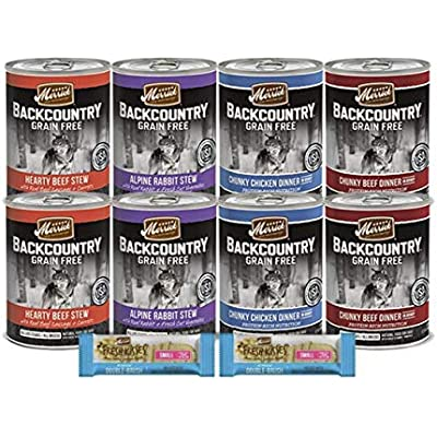 Merrick Backcountry Canned Dog Food-11 Item Variety Pack 8 Cans 2 Hearty Beef Stew 2 Alpine Rabbit Stew 2 Chunky Chicken Dinner 2 Chunky Beef Dinner 2 Dog Dental Care Treats 1 Pet Food Lid