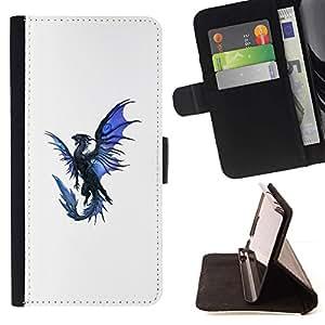 Momo Phone Case / Flip Funda de Cuero Case Cover - Dragón Azul Negro Flying criatura mítica - LG OPTIMUS L90