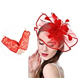U-Zomir Fascinator Hat Feather Mesh Party Hat Flower Wedding Derby Cocktail Tea Party Headband with Clip and Lace Glove for Girls and Women (Style 1-Red)