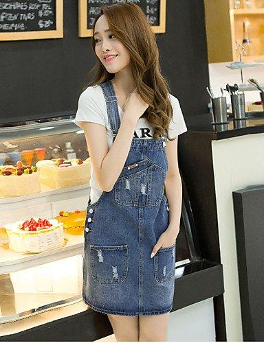 PU&PU Robe Aux femmes Denim Simple,Couleur Pleine A Bretelles Mini Coton , blue-xl , blue-xl