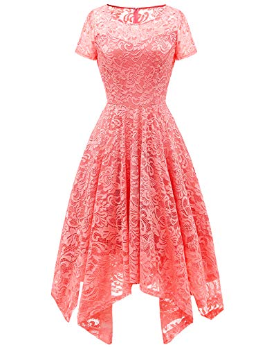Bridesmay Women's Elegant Short Flare Sleeves Floral Lace Asymmetrical Hanky Hem Cocktail Party Bridesmaid Dress Coral S