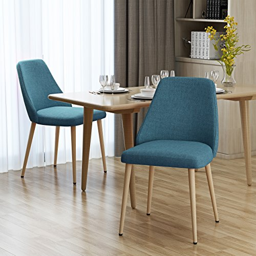 Christopher Knight Home 303209 Mable Mid Century Muted Blue Fabric Dining Chairs with Light Walnut Wood Finished Legs (Set of 2), Dark Walnut Finished Wood