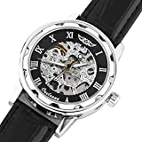 Happy Hours - New Fashion Round Face Gold Steampunk Skeleton Mechanical Transparent Clear Dial Silver Stainless Steel Boys' / Men's Sport Leather Band Wrist Watch