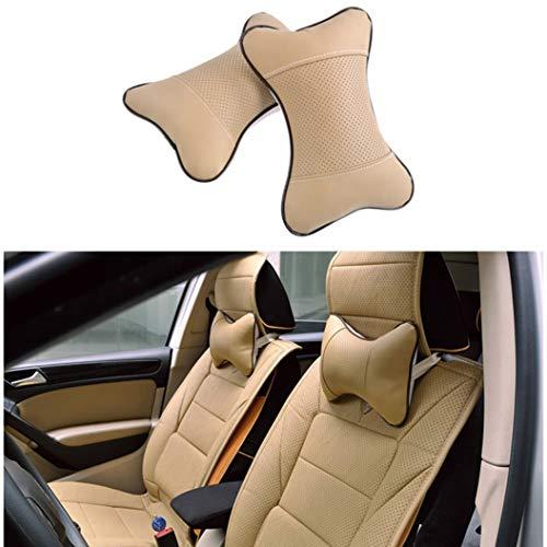 Cars 2 Piece Bath - Bling 2PCS Car Pillow PU Seat Neck Headrest & Relax Neck Support Headrest Comfortable Soft Pillows for Travel Car Seat & Home[Beige]