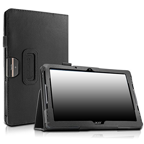 Acer Iconia One 10.1 B3-A30 case, Infiland Folio Premium PU Leather Case Cover for Newest Acer Iconia One B3-A30 10.1 Inch MediaTek MT8163 quad-core Tablet, Black