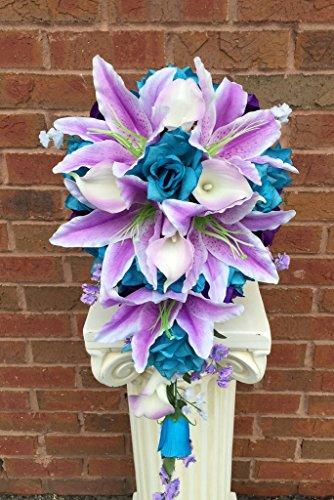 Cascade Wedding Bouquet - Turquoise Purple and Lavender