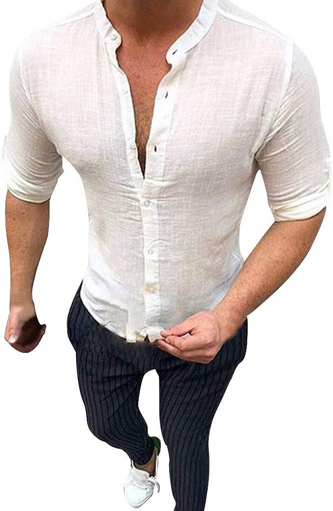 Camicia Uomo Lino Maniche Lunghe Colletto Tinta Unita Azzurra GIOSAL