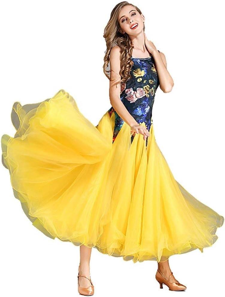 女性ワルツモダンダンスパフォーマンスダンス衣装国家標準ダンスドレスビッグスイングスカートベルベットノースリーブ社交ダンス大会スーツ (Color : 黄, Size : XL) 黄 X-Large