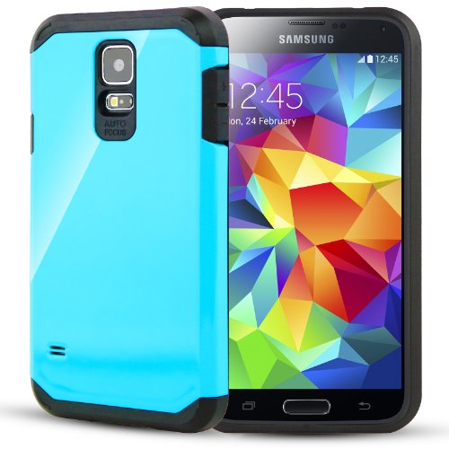 CellJoy® [Liquid Armor] Samsung Galaxy S5 Case Slim Fit Dual Layer Protective Hybrid Case for Galaxy SV / Galaxy S V / Galaxy S5 (2014 Model) [CellJoy Retail Packaging] (Liquid Teal)