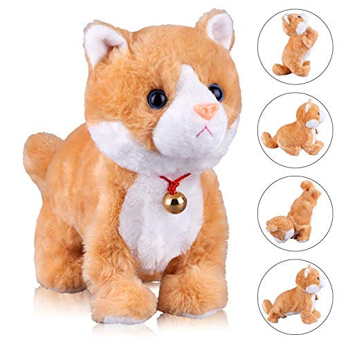 Yellow Robot Cat Plush Cat Stuffed Animal Interactive Cat Robot Toy, Meow Kitten Touch Control, Electronic Cat Pet, Robotic Cat Cat Kitty Toy, Animated Toy Cats for Girls Baby Kids L:12