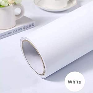 "White Self-Adhesive Wallpaper Film Stick Paper Easy to Apply Peel and Stick Wallpaper Stick Wallpaper Shelf Liner Table and Door Reform(15.7"" x118"") Decorative"
