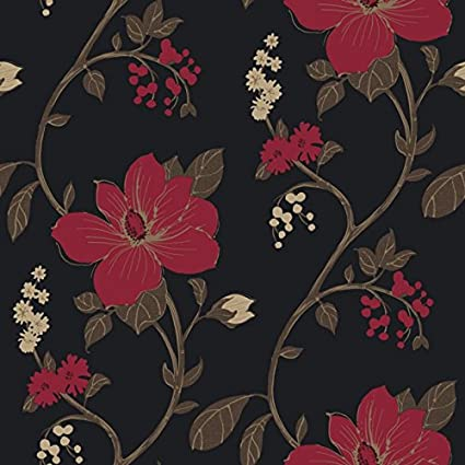 Flower Wallpaper Floral Paisley Heavyweight Wallpaper Tatami Black Red