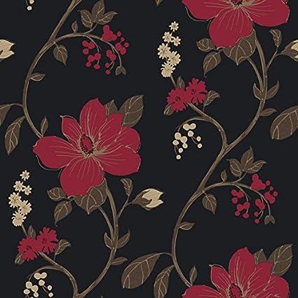 Flower Wallpaper Floral Paisley Heavyweight Wallpaper Tatami Black