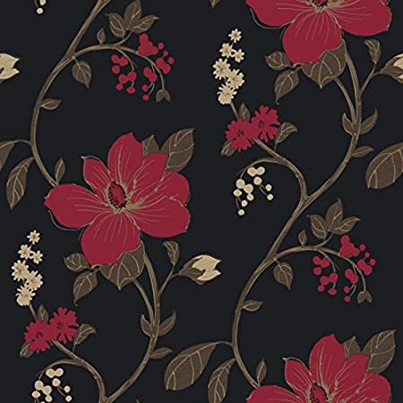 Flower Wallpaper Floral Paisley Heavyweight Tatami Black Red