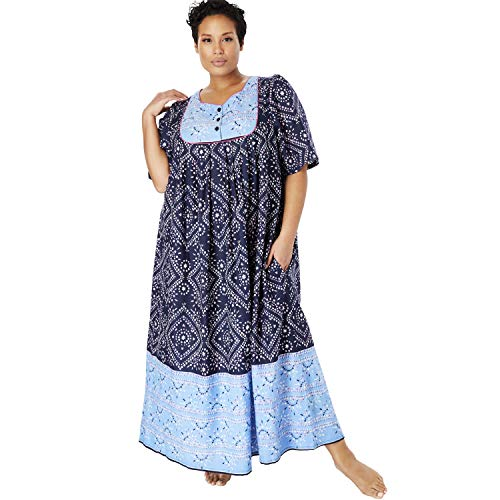 Only Necessities Women's Plus Size Mixed Print Long Lounger - Navy Geo, 5X ()