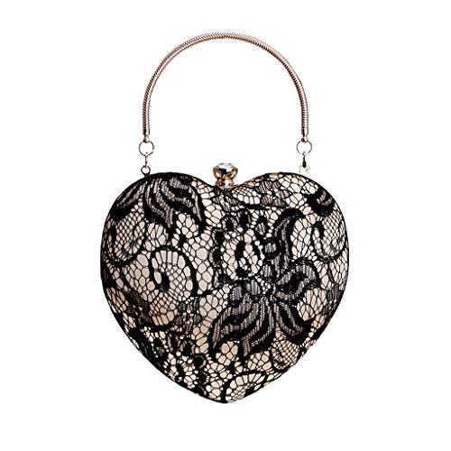 LUXISDE Women Fashion Peach Heart Evening Handbag Party Clutch Purse Shoulder Cross Bag ()