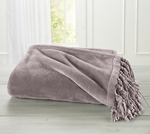 Ultra Velvet Plush Super Soft Blanket. Lightweight Throw Blanket in Solid Colors Featuring a Decorative Fringe. Raya Collection By Home Fashion Designs. (Grey Mist) - Mist Fringe