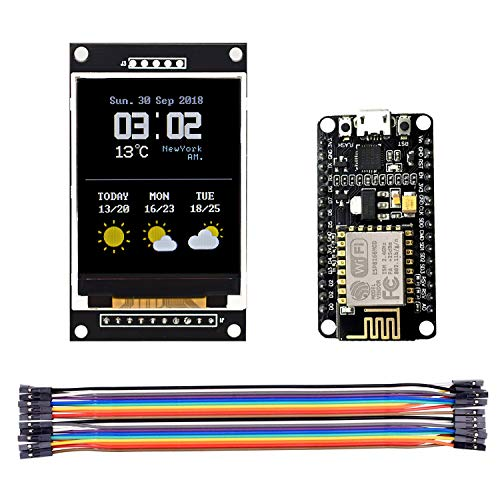 Price comparison product image MICROYUM NodeMcu Esp8266 Color Display Basic Starter Kit with esp-12E & 2.0 inch SPI Color TFT Display Screen for Iot Weather Station