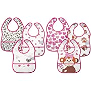 Little Me 6 Pack Crumb Catcher Bibs for Baby Boys & Girls; 0-12 Months