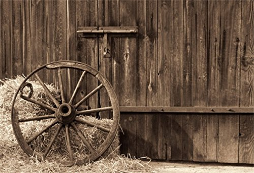 LFEEY 10x8ft Wooden Barn Door Backdrop Western Country Shabby Old Wooden Farmhouse Front Entrance Hay Bale Metal Wagon Wheel Photography Background Travel Photo Booth - Wedding Accessories Country