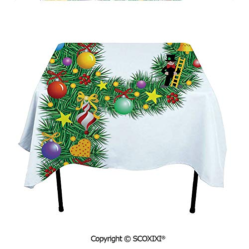 SCOXIXI Custom Tablecloth Washable Polyester Fabric,Letter P with Seasonal Holiday Theme Presents Candy Celebration Expressing Image,W55XL55 Inches from SCOXIXI