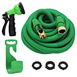 """YEAHBEER 50ft Expandable Garden Hose,Durable Lightweight Expandable Water Hose,3/4"""" Patent Leak-Proof Connector,8-Mode High Pressure Spray Nozzles,Free Storage Bag + Hook"""