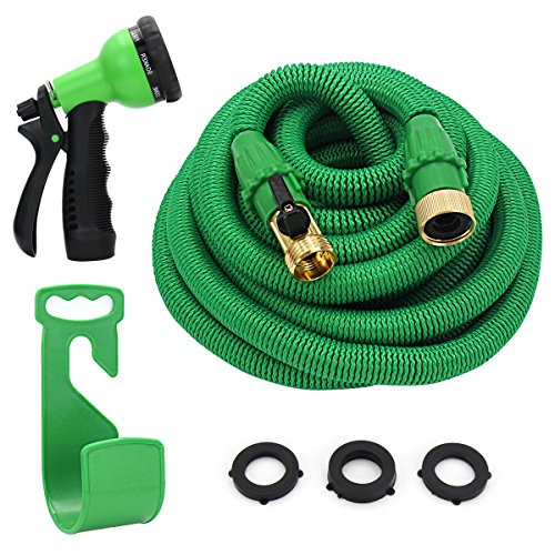 Ufunga 50ft Garden Hose Durable and Lightweight Expandable Water Hose,3/4″ Patent Leak-Proof Connector,8-Mode High Pressure Spray Nozzles,Free Storage Bag + Hook