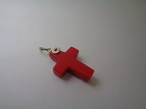 Rote Koralle Draht gewickelt Kreuz Anhänger, Silber gefüllt Anhänger ...