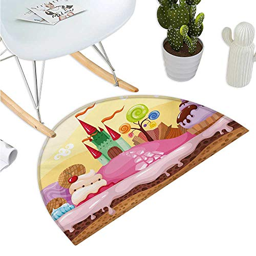 Cartoon Semicircular Cushion Kids Sweet Castle Landscape with Donuts Muffins Ice Cream Nursery Image Entry Door Mat H 23.6
