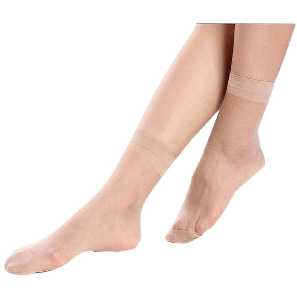 Tenworld 10 Pairs Women Short Socks Summer Thin Transparent Silk Stockings Tenworld-socks