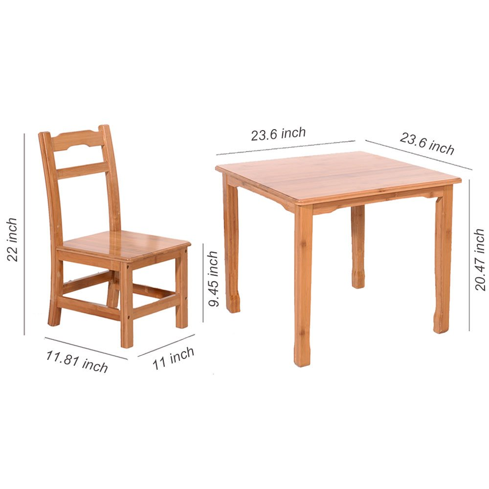 Azadx Bamboo Table and 2 Chairs Set - Kid's Furniture for Playing Reading Drawing Writing Eating Wood Color by Azadx (Image #4)