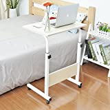 "Soges Adjustable Overbed Table 23.6"" Portable Laptop Computer Stand Desk Cart Tray, white maple 05-1-60B-CA"