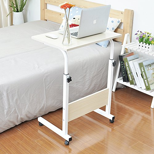 "Price comparison product image soges 23.6"" Adjustable Laptop Table Portable Mobile Desk Computer Stand Desk Cart Tray Side Table for Bed Sofa Hospital Nursing Reading Eating, White 05-1-60W"