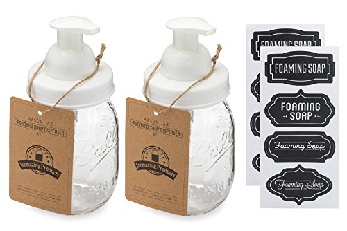 Jarmazing Products Mason Jar Foaming Soap Dispenser – White – With 16 Ounce Ball Mason Jar - Two Pack! by Jarmazing Products