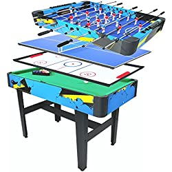 "Pinty 48''/50'' Foosball Table Competition Sized Soccer Table Game & 72''/84'' Air Hockey Table for Kids & Adults Use Game Room (48"" 4 in 1 Combination Game Table)"