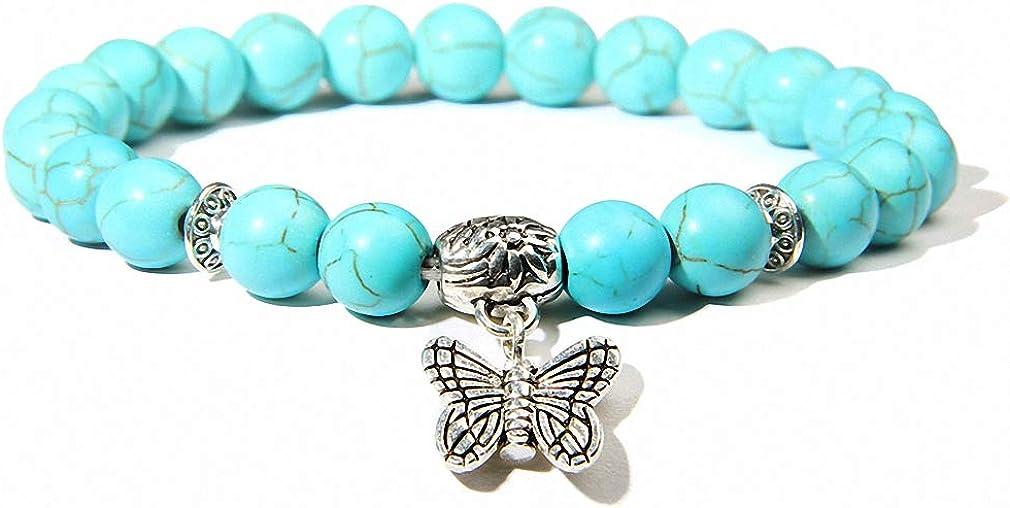 Hynsin Women Bracelets Charms Natural Stone Bracelets Pink Quartz with Butterfly Pendent Bracelets for Women Stone Beads Charms Jewelry
