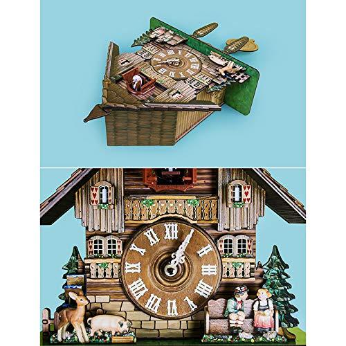 Cuckoo Wall Clock, Alarm Clock Retro Clock Wooden Living Room Clock Wall Clock Art Home Living Room Kitchen Office Decoration (D)