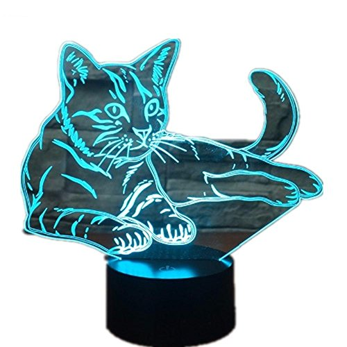 Lying Down Cosy Cat 3D LED Lamp Acrylic Night Light USB Touch Light Children Cute Night Bedroom Light leisure 7 Colorful (Lying Down Cat)