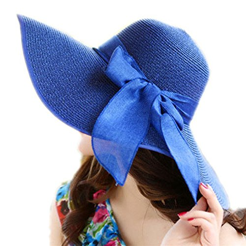 (LOVEHATS New Fashion Women Elegant Beach Cap Sun Hat Adult Flower Beach Cap Bowknot Wide Brim Summer Hats blue adult 58cm)