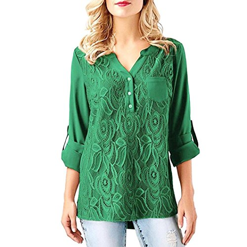 Lace Shirt,Toimoth Womens Long Sleeve Shirt Lace Casual Blouses Chiffon Tops Solid Vest (Green,L)