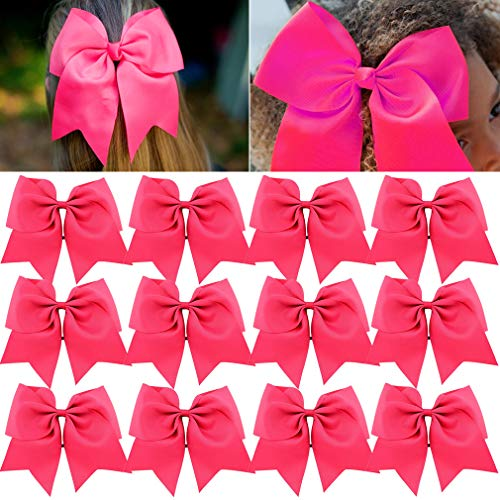 (Large Cheer Bows Ponytail Holder Girls Elastic Hair Ties 8