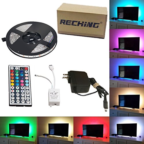 Led Strip Lights TV Backlight Night Light Kit Reching waterproof SMD 5050 RGB 7 Ft (2.4M) 72leds(30leds/m) with 44key Remote Controller and Power Supply For Holiday Party Decorators(7FT - Light Customizable Kit