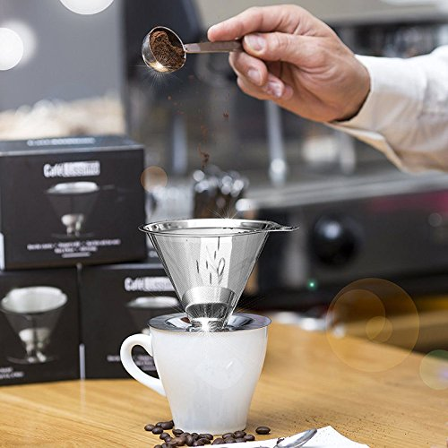 XENO-Stainless Steel Pour Over Coffee Dripper Permanent Tea Filter Cone Mesh Drip (New Girls Bobby Jack)