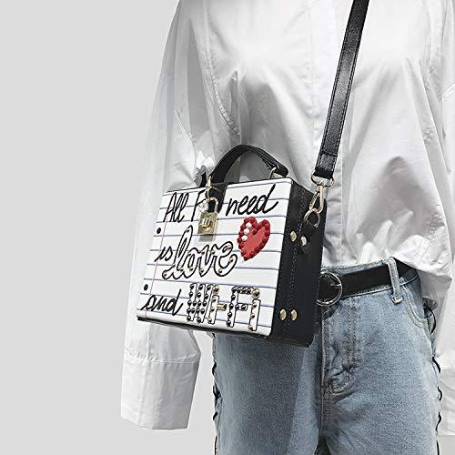 bourse rivet forme Wifi à sac lettre boîte dames Pnizun Wifi diamants partie perle crossbody sac messager mode main Bleu Noir précarisés 0HzB7q