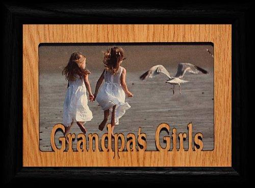 JoyceBoyce.com ~ GRANDPA'S GIRLS ~ Landscape Black Frame & Laser Cut Oak Veneer Mat ~ Holds a 4x6 or cropped 5x7 ()